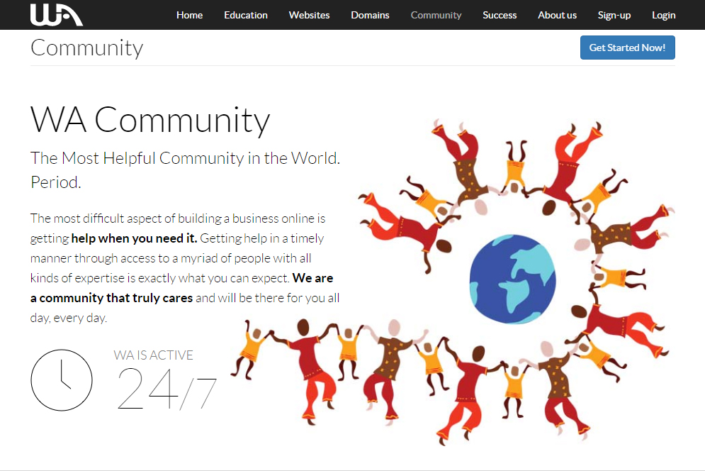 wealthy affiliate community screen
