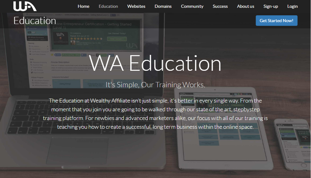 wealthy affiliate education screen