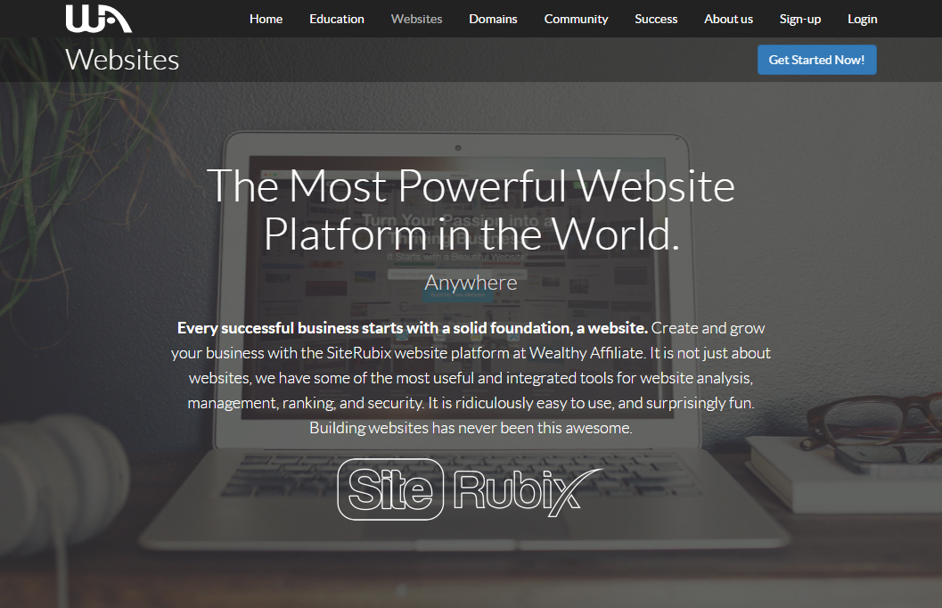wealthy affiliate websites screen