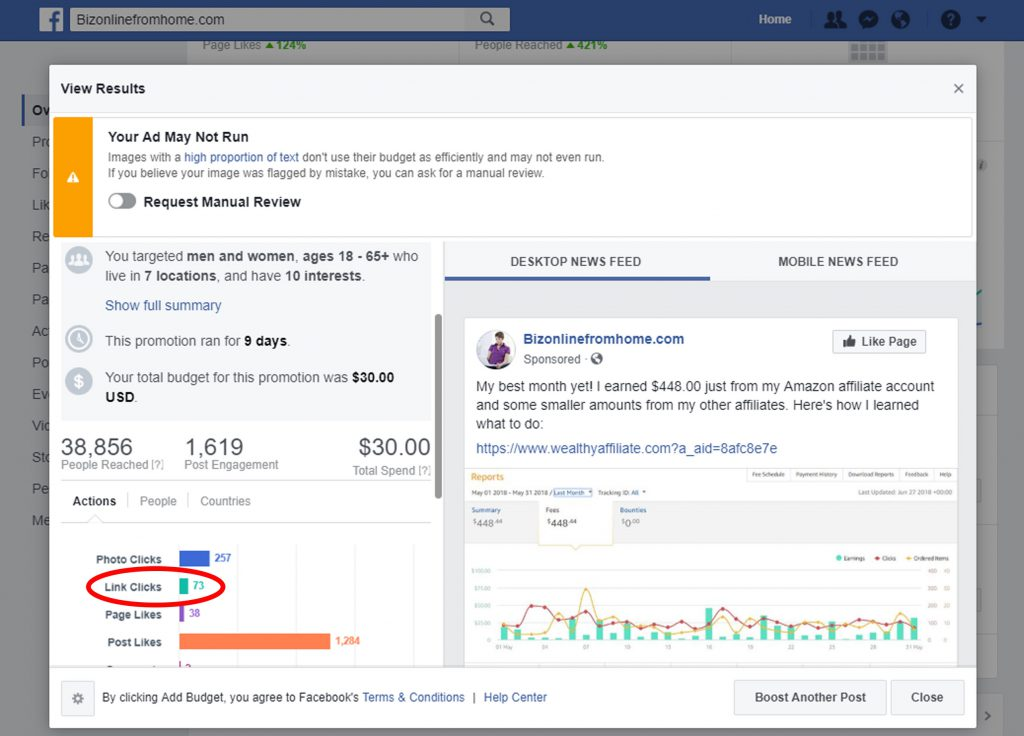 facebook amazon promotion results